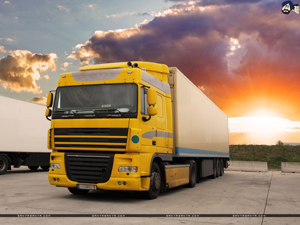a giant yellow color truck cargo transportation 1024 768